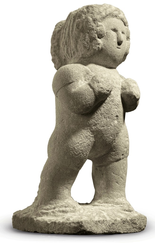 """Boxer"" by William Edmondson (1874–1951), circa 1936,   limestone, 17 by 7¼ by 9¼ inches."
