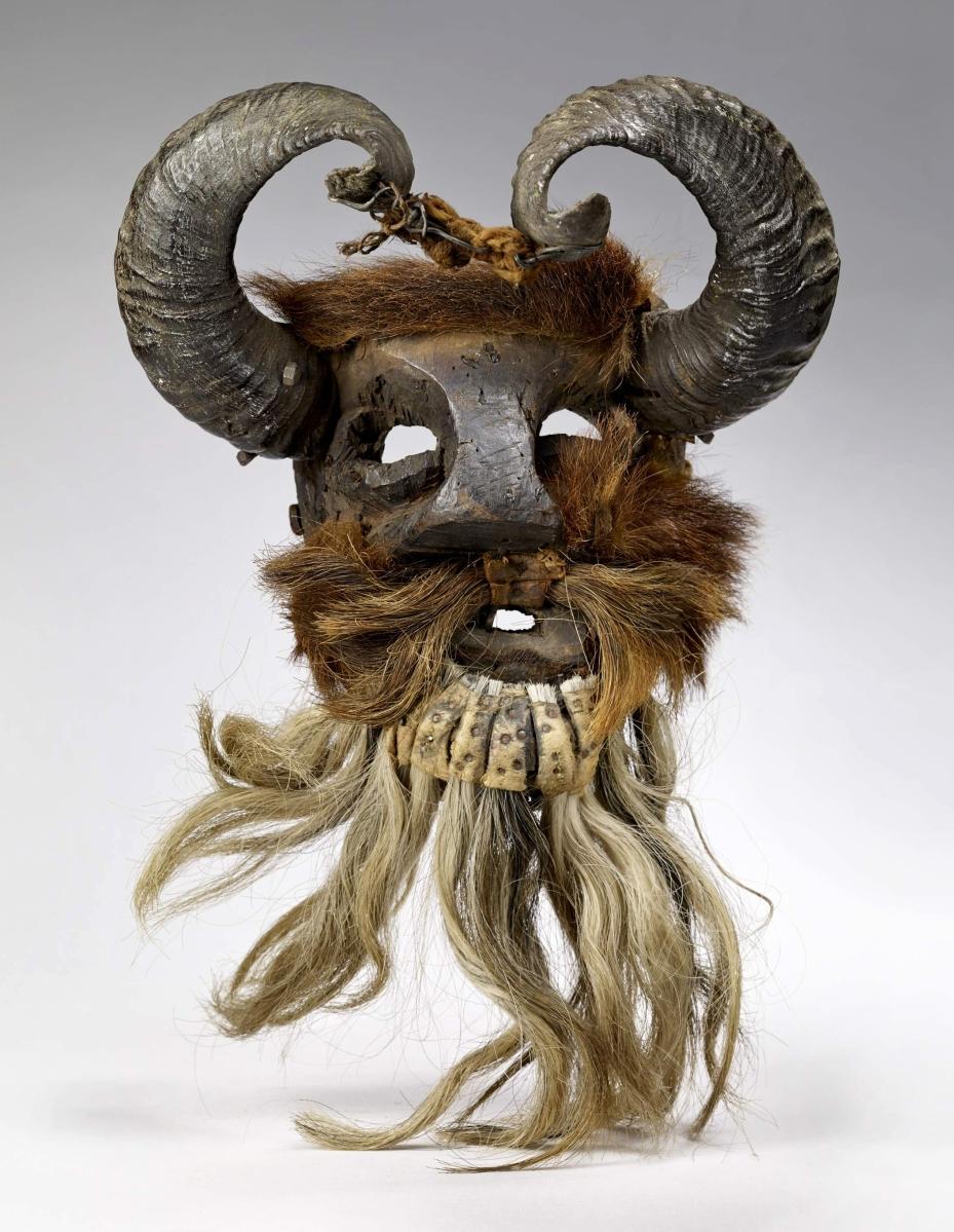 Mask, Piedra Ancha, Mexico, Otomi culture, 1900s. Wood, fur, horns, 15 by 10 by 8½ inches. Musée du quai Branly-Jacques Chirac, Paris.       —Claude Germain photo