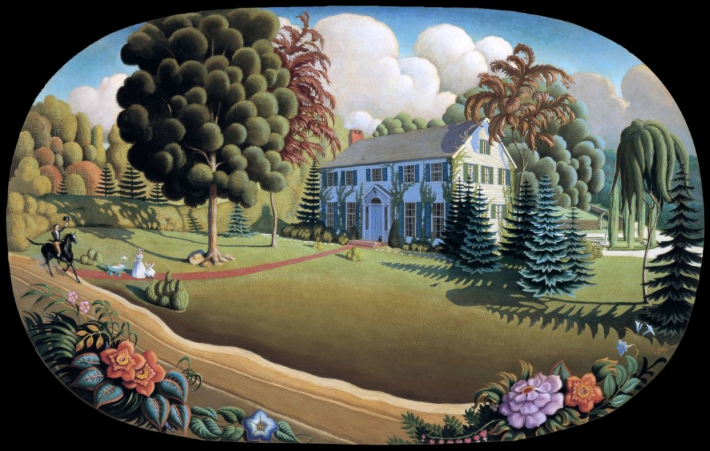Overmantel decoration, 1930. Oil on composition board, 41 by 64 inches. Cedar Rapids Museum of Art. ©Figge Art Museum, successors to the Estate of Nan Wood Graham/Licensed by VAGA, New York.      All designs are by Grant Wood, unless otherwise noted.