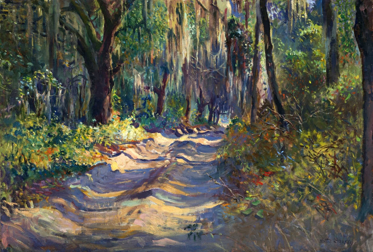 """""""Path with Mossy Trees"""" by Hattie Saussy (1890–1978), undated. Oil on canvas mounted on Masonite, 18 by 26 inches."""