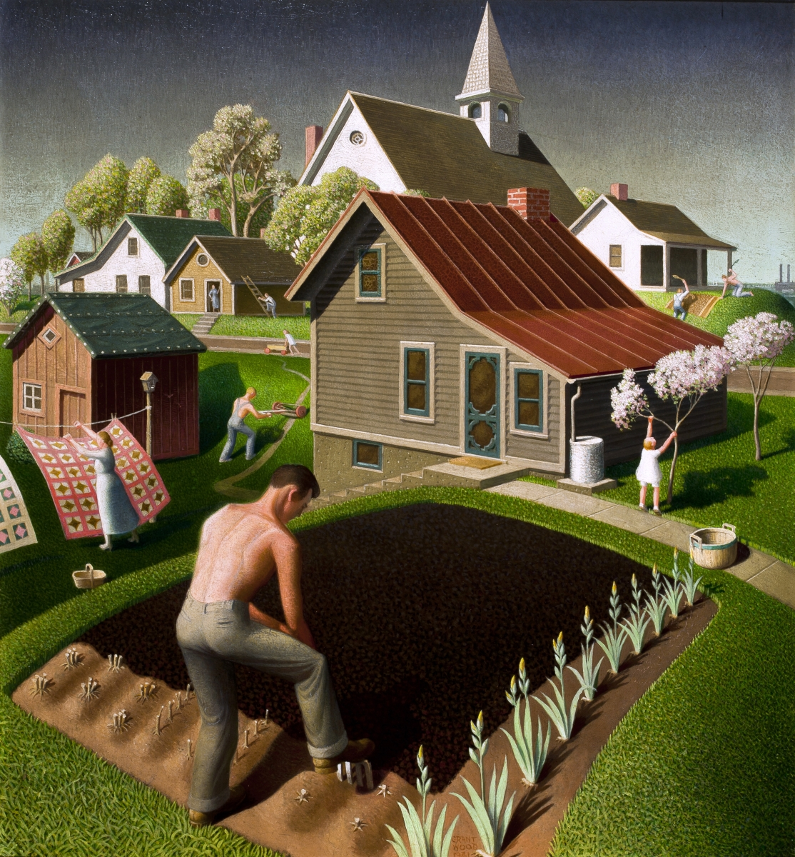"""Spring in Town,"" 1941. Oil on wood, 26 by 24½ inches. Swope Art Museum."