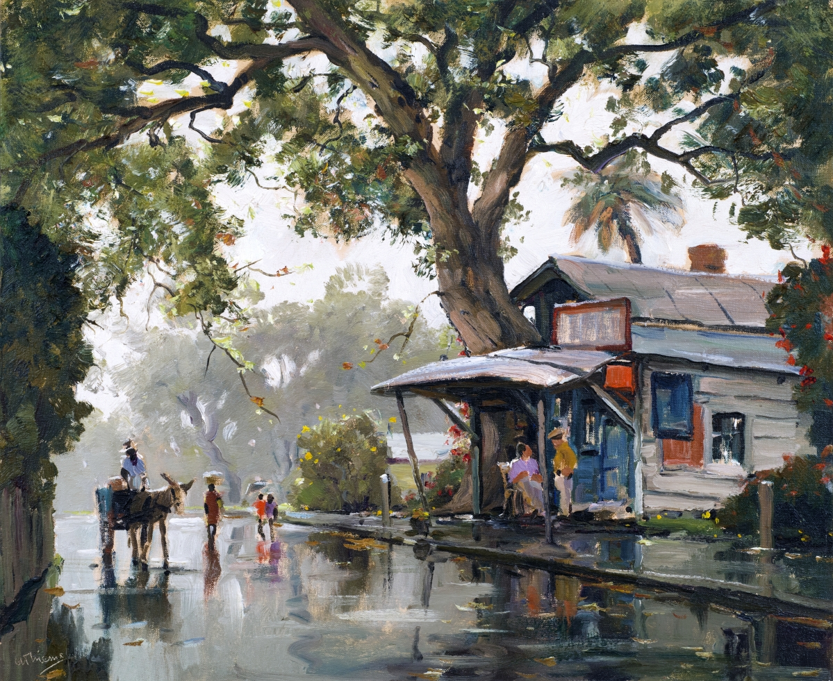 """""""Rain in the South"""" by Anthony Johannes Thieme (1888–1954), undated. Oil on canvas board, 20 by 24 inches."""