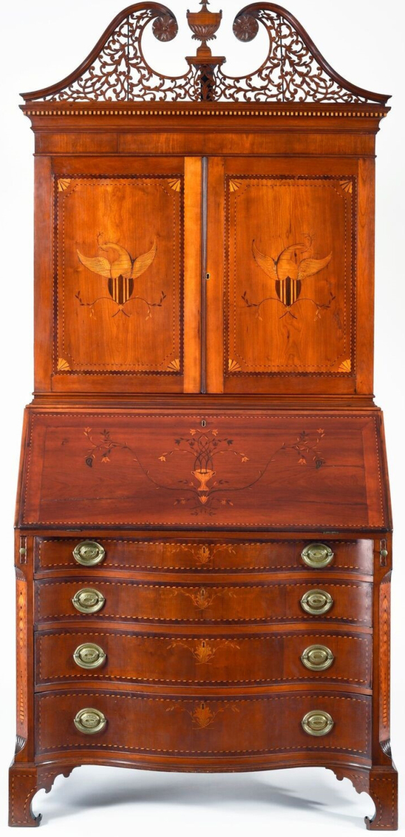 Desk and bookcase attributed to Nathan Lumbard, 1798–1802. Cherry, mahogany banding, light and dark wood inlay, basswood, white pine; height 92½ by width 42½ by depth 21-  inches. Winterthur Museum.                                —Laszlo Bodo photo