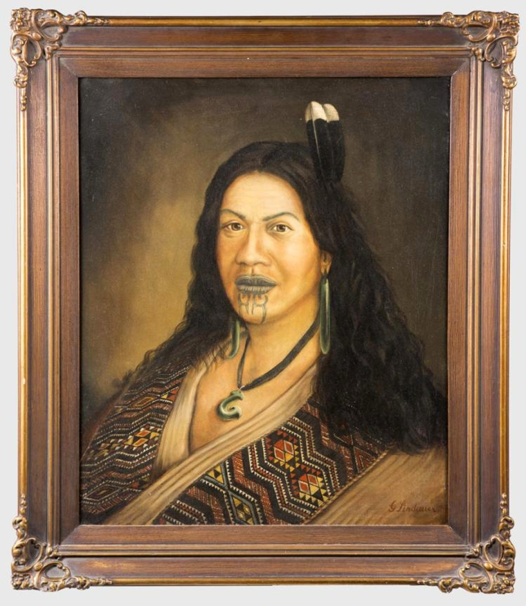 The highest price of the sale was earned by an unusual, striking portrait of a Maori princess painted by Gottfried Lindauer (New Zealander, 1839-1926). The artist was known for his paintings of Maori leaders and village life, many of which hang in museums in New Zealand. A bidder in Australia paid $21,600 for the painting.