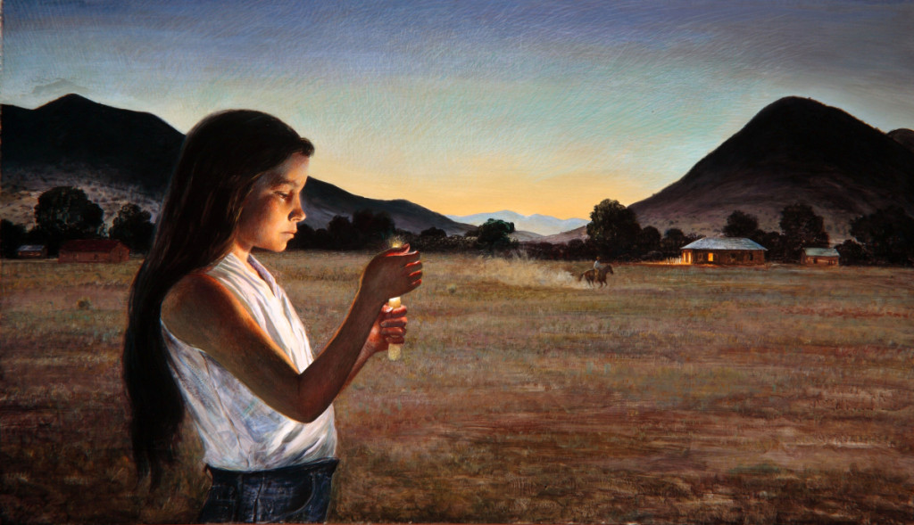 """Eve of Saint John"" by Peter Hurd, 1960. Egg tempera on board, 28 by 48 inches. San Diego Museum of Art."