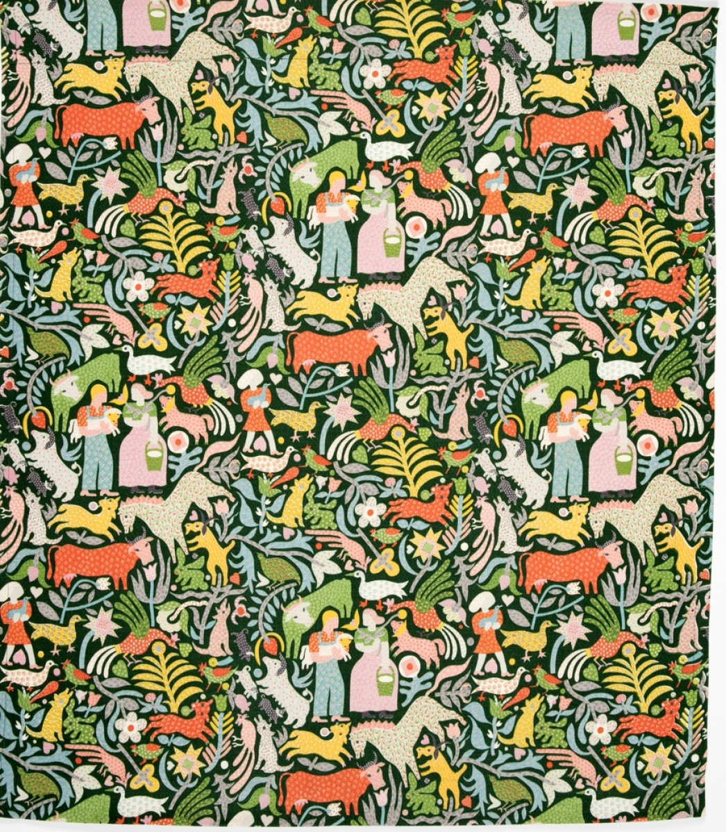 Textile, Calico Cow, 1952; cotton; 38¼ by 33¼ inches; American Textile History Museum Collection, gift of Michele Palmer; acc. #2017-24-7