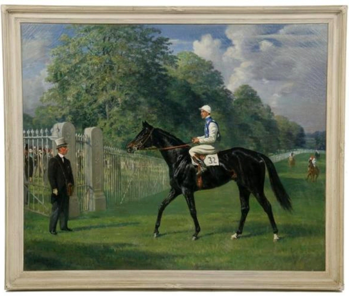 The top selling lot of the sale was this large portrait of the race horse Totaig painted by Franklin Brooke Voss (1880–1953), which finished at $46,800. In 1932, the horse won the Royal Hunt Cup at Ascot. He was the first American horse to win the race and an underdog at odds of 33-1.