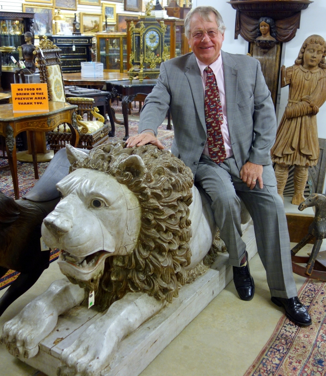 Jim Julia presided over a $3.65 million auction of fine and decorative arts in August 2017.   The lion, a crowd-pleaser, found a new home with Pennsylvania dealer Diana Bittel.