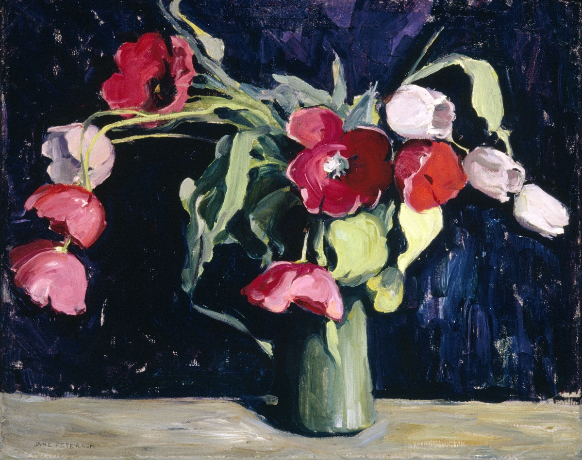 """Still Life with Flowers (Tulips),"" circa 1925–30. Oil on canvas, 24 by 31 inches. Eskenazi Museum of Art, Indiana University; Morton and Marie Bradley Memorial Collection. 			 —Kevin Montague photo"