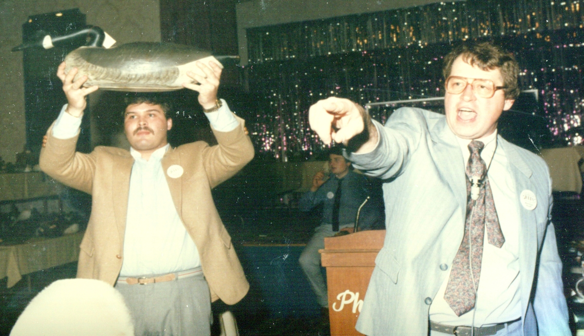 Jim, right, teamed up with decoys authority Gary Guyette, left, in 1984. They auctioned the Joseph Lincoln hissing goose for a record $90,200 in April 1985. Jim sold Guyette his share of the decoys business seven years later, but still calls sales for Guyette & Deeter.