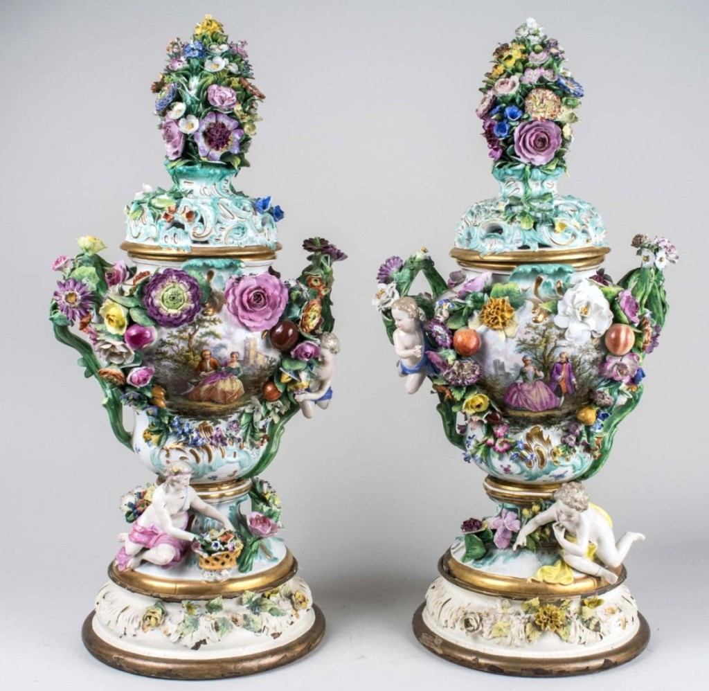 Pair of Meissen Style Porcelain Urns - Each with domed cover and flower finial, Height 27 inches