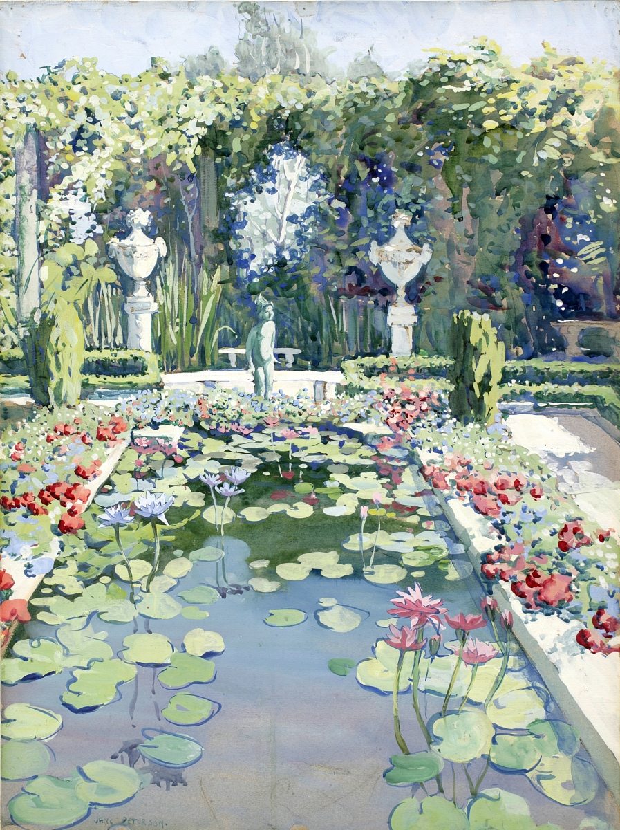 """Tiffany's Garden,"" circa 1913. Watercolor and gouache on paper, 28 by 22 inches. Long Island Museum of American Art, History and Carriages, Stony Brook, N.Y."