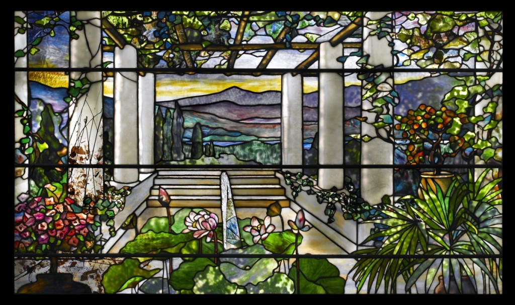 Tiffany Studios, garden landscape window, 1900–1910, leaded glass.      —John Faier photo,   ©2013 Driehaus Museum
