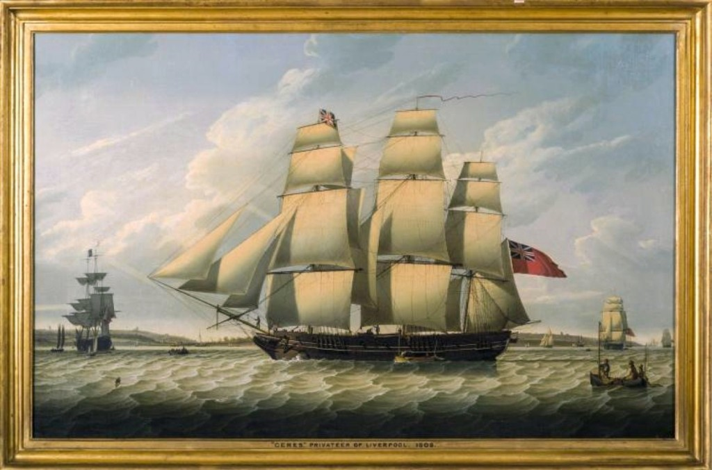 Going out at $48,000, Robert Salmon's 1808 portrait of the Liverpool privateer Ceres was the highest priced item in the sale. It had been shown in at least two museum exhibitions.