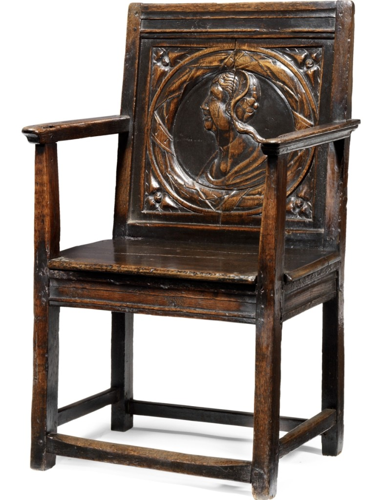 The top lot in the sale was this rare Henry VIII joined oak panel back armchair, circa 1530, that realized $57,225.