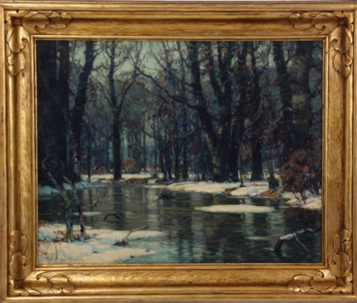 """The highest priced item was """"March Floods,"""" the forest floor covered in melting snow, a detail often found in John Fabian Carlson's works. He was a member of the National Academy and winner of several prestigious prizes. The Impressionistic forest landscape finished at $34,943."""