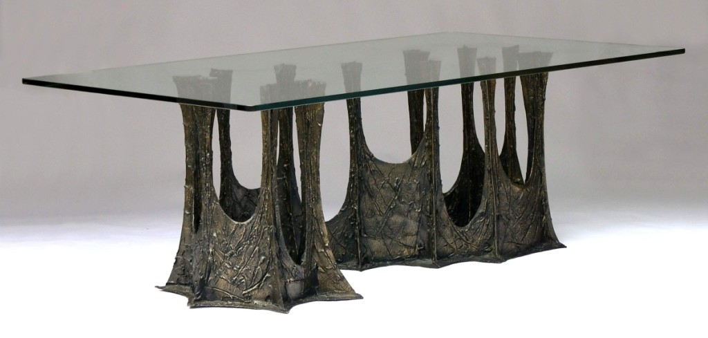 A Paul Evans sculptured metal dining table led Midcentury Modern furnishings, reaching $19,520.