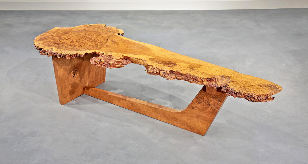 Moderne Sled-based English Oak Burl Coffee Table