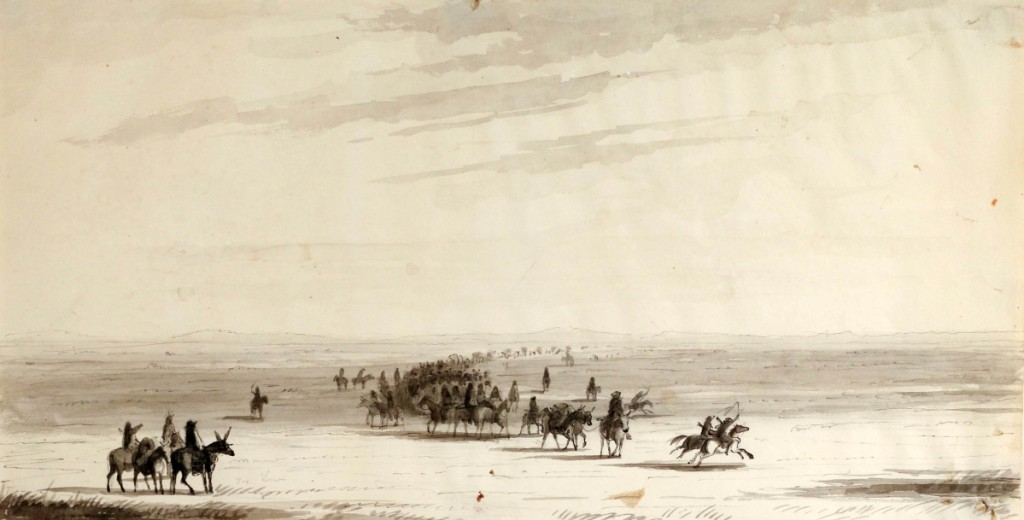 "The top lot at $48,800 was Alfred Jacob Miller's (American, 1810–1874) ""Caravan en route (Stewart's caravan),"" a pen, pencil and ink wash on paper, circa 1837. The 12½-by-18¾-inch work was won on a phone bid against two other competitors and is going to the Museum of Nebraska Art."