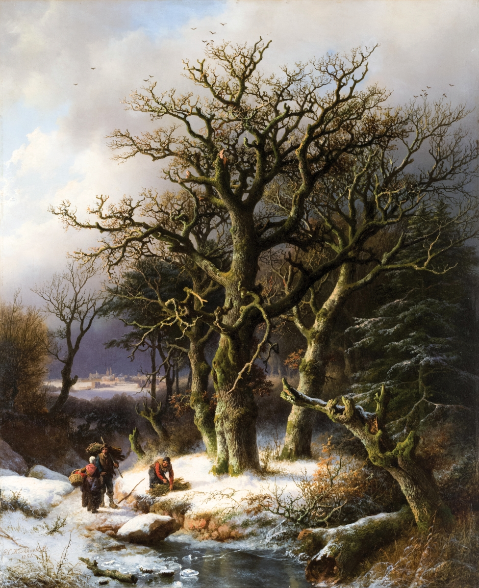 """Leading the sale was """"Winter landscape with wood gatherers"""" by Barend Cornelis Koekkoek (Dutch/German, 1803–1862), 1854, 24¼ by 19¾ inches, realized $132,000."""