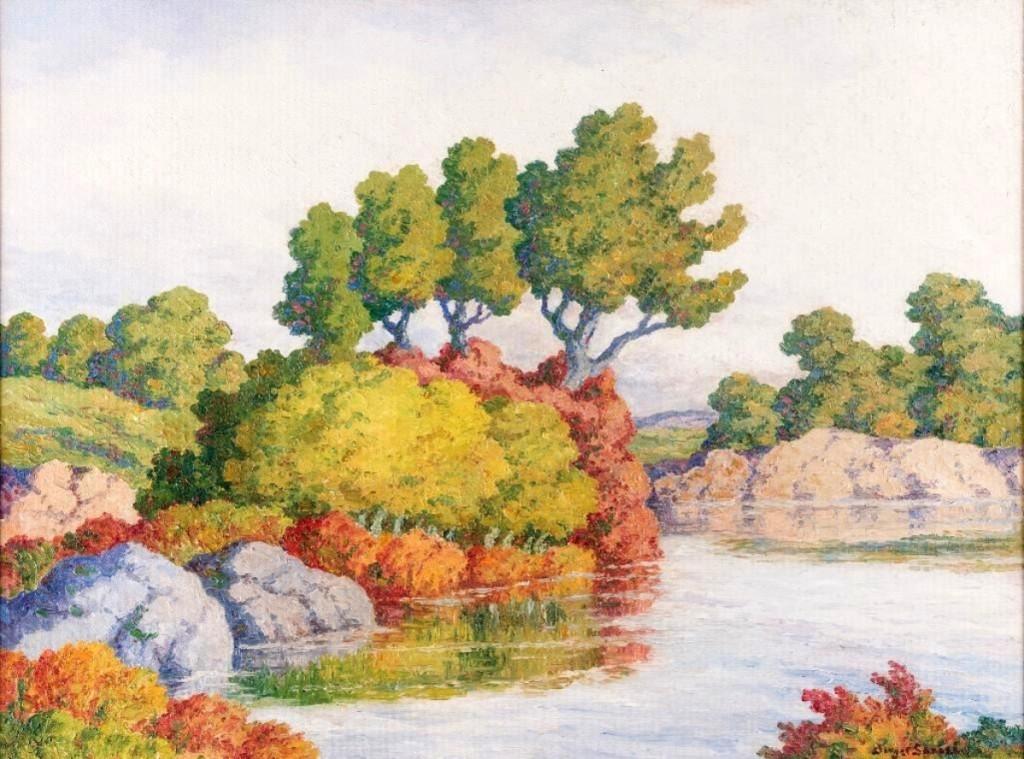 """""""Autumn"""" by Birger Sandzen (1871–1954), oil on board, 36 by 48 inches, $60,500 ($60/80,000). Inscribed """"Smoky River Hill, Birger Sandzen, Lindsborg, Kans. 1952""""."""