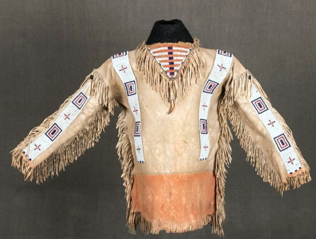 Late Nineteenth Century Cheyenne war shirt, $20,570 ($20/30,000).
