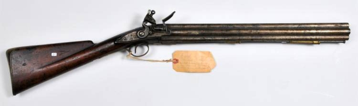 The highest priced item in the two-day sale was a rare flintlock seven-barrel Henry Nock volley musket, which brought $39,780.