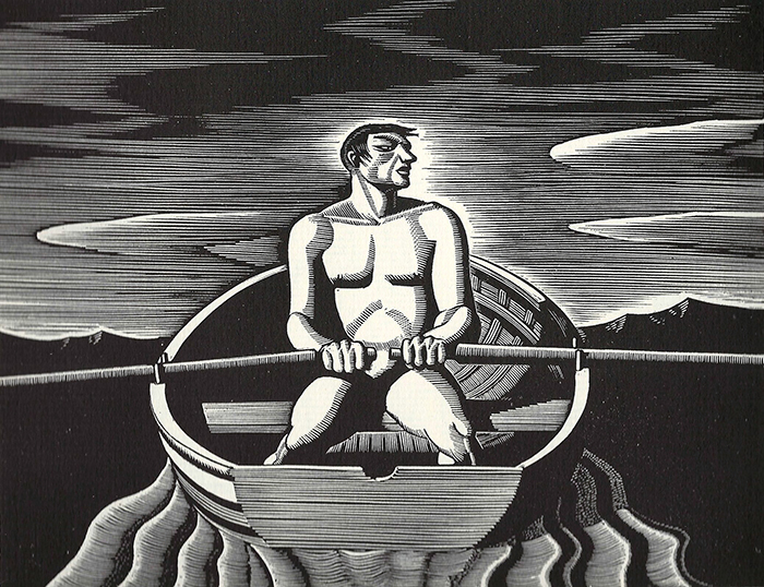 """While working as a lobsterman in Maine, Kent became an accomplished rower. This print was part of an advertising series he created for the American Car and Foundry Company. """"Oarsman,"""" 1931. Wood engraving, 5-13/16 by 6-15/16 inches. Collection of Ralf C. Nemec. Courtesy of Plattsburgh State Art Museum."""
