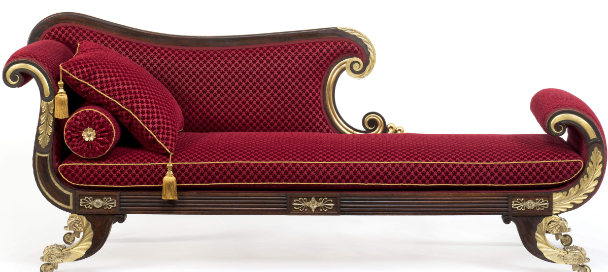 Couch, Isaac Vose & Son, with Thomas Wightman, carver, Boston, 1824. Birch, mahogany, rosewood graining, rosewood, oil gilding, brass, original underupholstery, modern stamped wool plush fabric and brass edge trim; height 35¼ by width 85 by depth 24-  inches. Historic New England, gift of the Massachusetts Historical Society; photo, David Bohl. The couch was one of 72 pieces made by Isaac Vose & Son for the city of Boston to furnish General Lafayette's lodgings when he visited Boston in 1824.