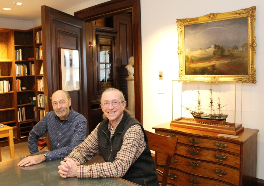 """Clark Pearce and Robert D. Mussey Jr, in a meeting room at the Massachusetts Historical Society in February. They first contemplated a Vose project in 2003, when """"Luxury and Innovation: Furniture Masterworks of John and Thomas Seymour,"""" the exhibition based on Mussey's research on the Seymours, opened at the Peabody Essex Museum in Salem, Mass. Serious discussions on Vose ensued in 2010 after Mussey sold his furniture conservation workshop."""