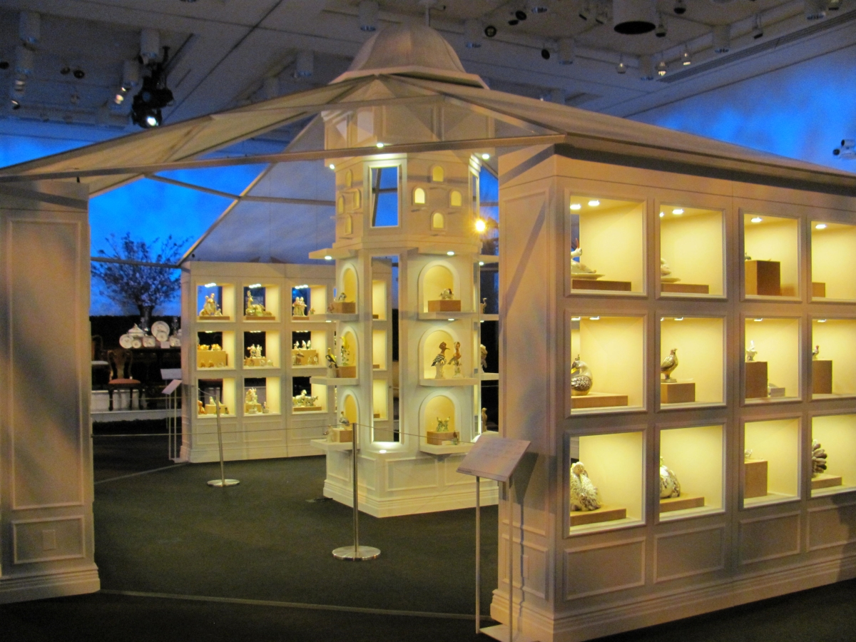 A temporary exhibition pavilion was erected in Christie's salesroom to display porcelain figures.