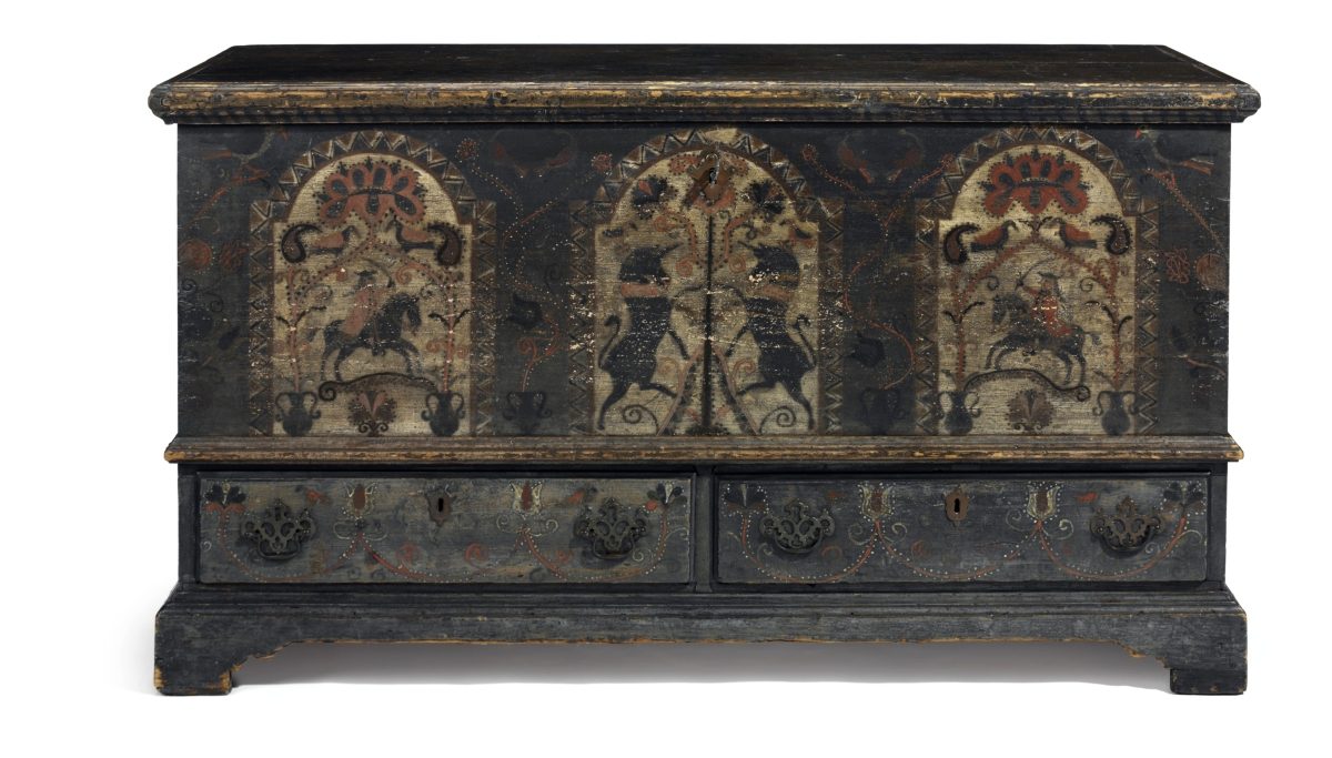 """Pennsylvania German poplar and pine paint-decorated """"Black Unicorn"""" chest over drawers, Bern township, Berks County, Pennsylvania, 1790–1805, realized $300,000. It was purchased by Greenville, Del., dealer James M. Kilvington, for a young client."""