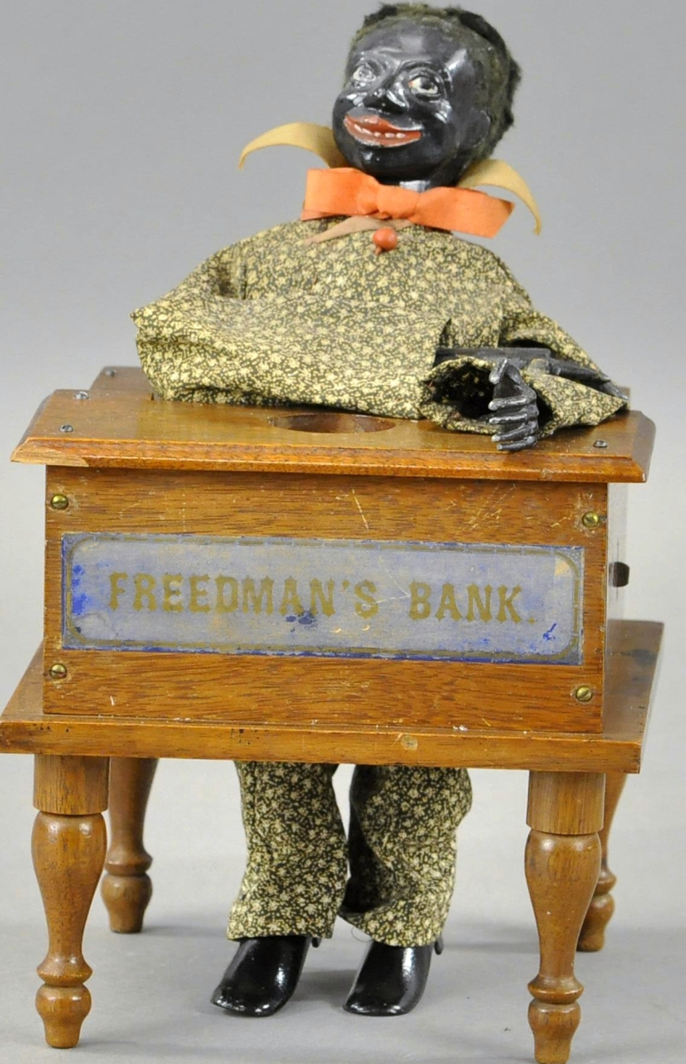 The star bank was lot 1065, Freeman's mechanical bank by Jerome B. Secor, Bridgeport, Conn., circa 1880. It is one of fewer than ten examples known and remains in excellent condition. This bank was found in Mexico and the provenance reads Andrew Emerine to Edwin H. Mosler Jr to Stanley Sax to Max Berry Collection. It sold for $132,000, against a $200,000 high estimate.