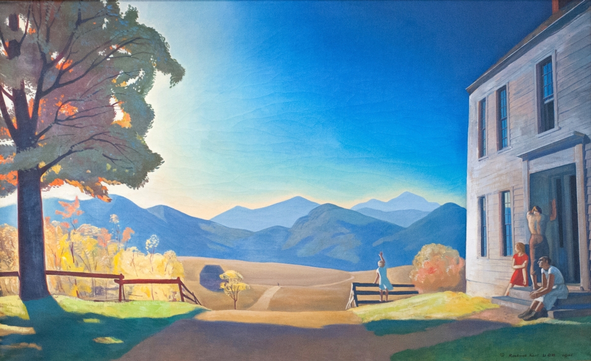"""Canning observed, """"This subtle commentary shows Kent as a colorist. It has a beautiful range and sense of light."""" According to the curator, the artist was initially referencing young men leaving their rural homes in search of opportunity. However, after the December 7, 1941, attack on Pearl Harbor, the work's meaning shifted as men went off to war. """"December Eighth,"""" 1941. Oil on canvas, 43½ by 71½ inches. Plattsburgh State Art Museum, State University of New York, bequest of Sally Kent Gorton. (PSAM 78.1.17)"""