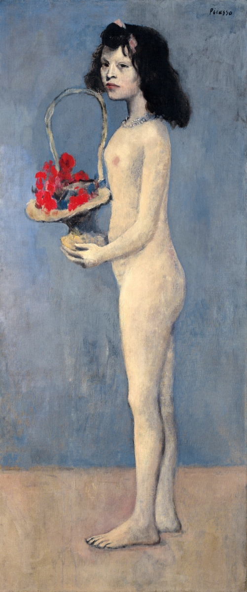 """Fillette à la corbeille fleurie"" by Pablo Picasso (1881–1973), 1905, signed and dated, oil on canvas, 60-  by 26 inches, price realized $115 million and was the highest-grossing lot in the sale."