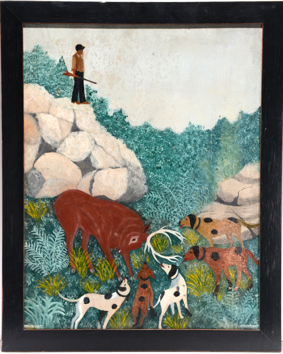 "Ellis Ruley's works are not seen at auction very often. ""Stag Hunt"" came with extensive provenance, which took it to $24,000."
