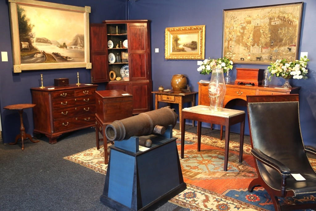 Thistlethwaite Americana's booth at The Philadelphia Antiques and Art Show.