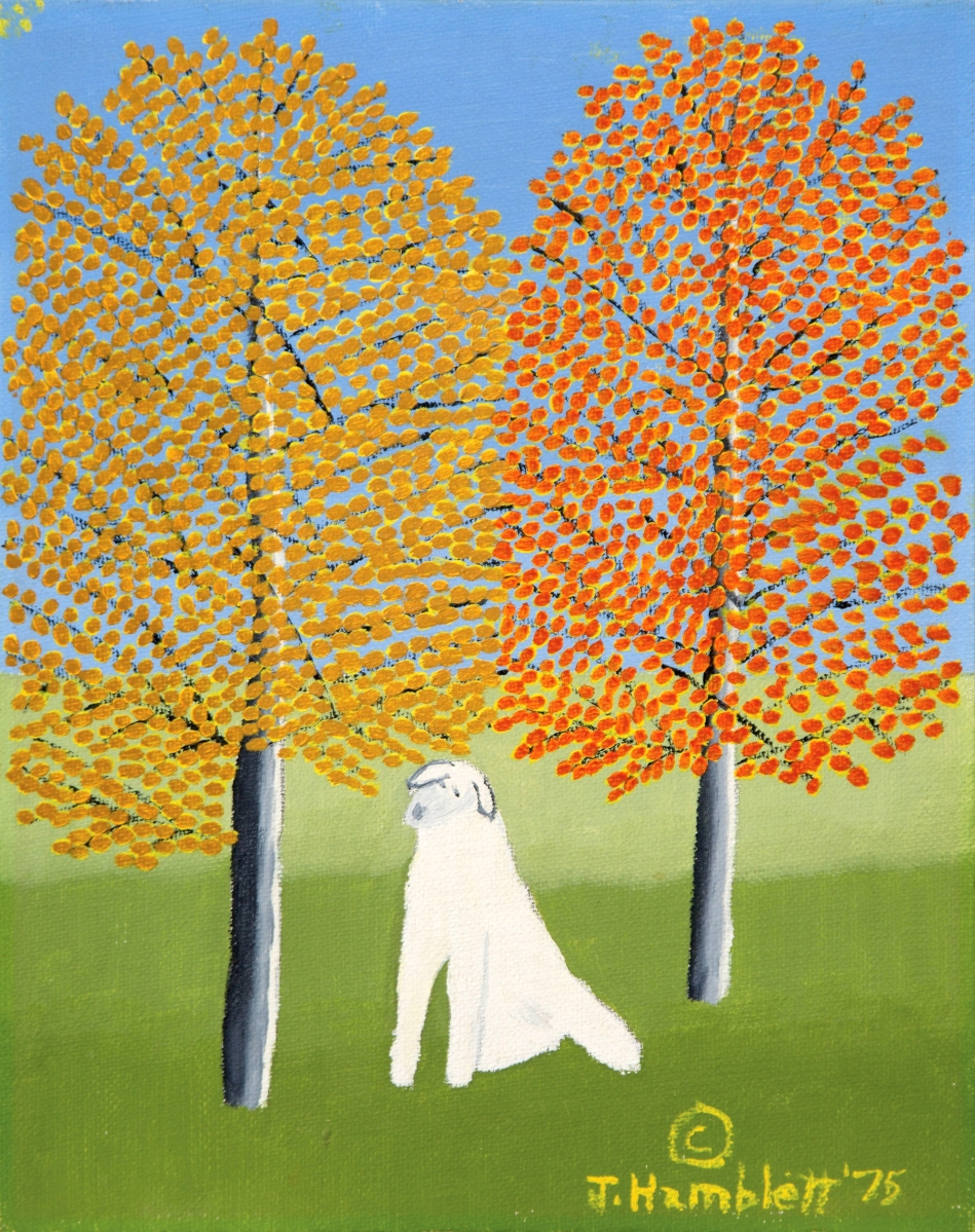 "The best among the works by self-taught Mississippi artist Theora Hamblett (1895–1977) was this small 1975 painting of a ""White Dog,"" 10 by 8 inches, that left the gallery at $13,420."