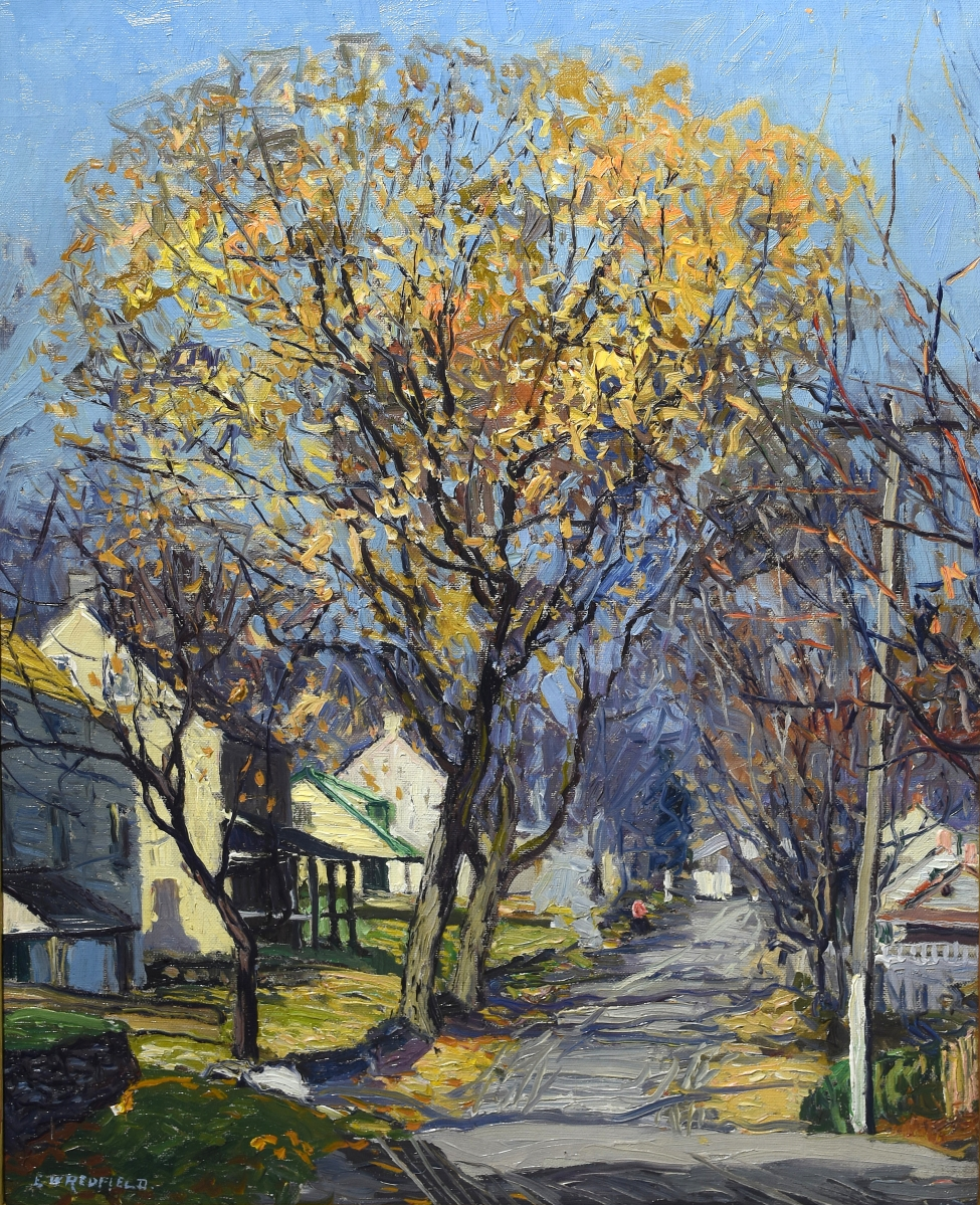 """Edward W. Redfield's painting of a """"Village Street"""" was the highest priced item in the sale, selling in the room for $103,500. The artist was a co-founder of the New Hope school and the catalog said provenance was available."""