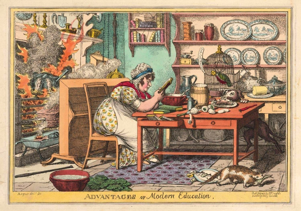 """Advantages of Modern Education"" by Charles Williams, 1825, hand-colored etching. Published by S. Knights, London. Gift of David Gwinn, 1963."