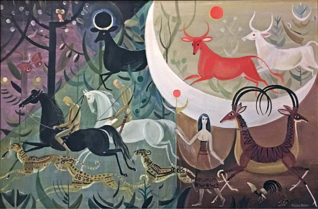 """""""Hunters of the Moon,"""" 1966, oil on canvas, 24 by 35 inches. Private collection."""
