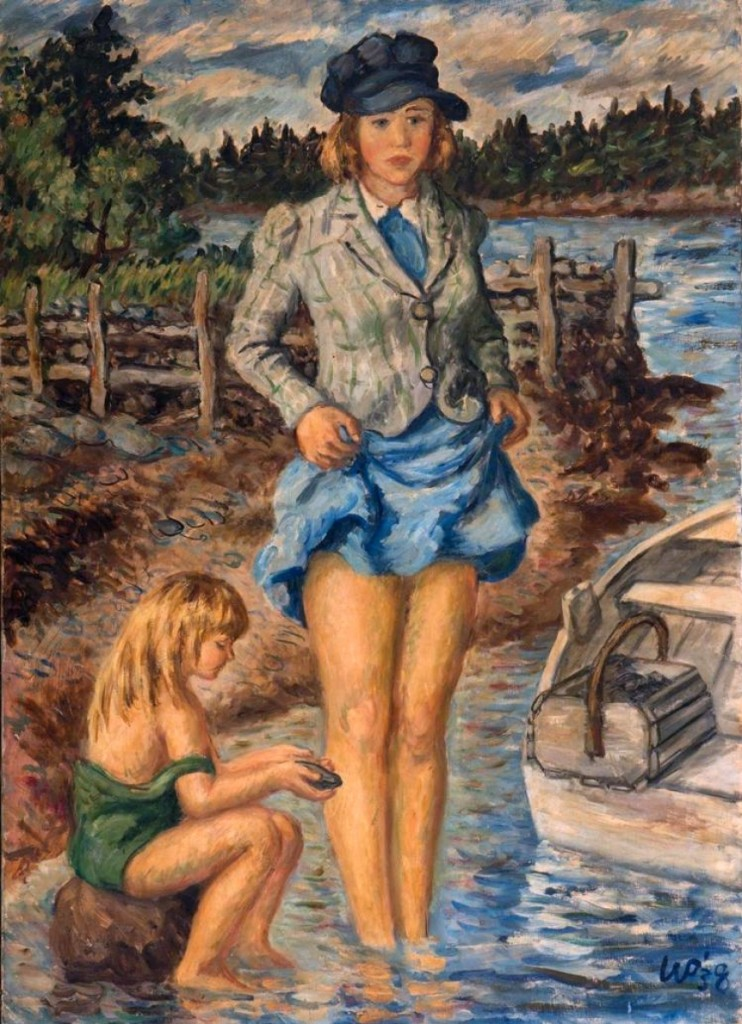 "The highest priced painting in the sale, realizing $31,720, was ""Penobscot Gals"" by Waldo Peirce. It had been exhibited at the Whitney Museum of American Art in 1938."