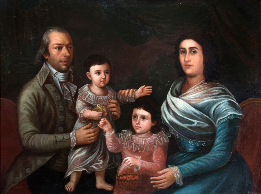 """""""Don Antonio Mendez and His Family,"""" 1795, oil on canvas, 36 by 49 inches. Mr and Mrs Robert J. Patrick. On view in """"Salazar,"""" Ogden Museum of Southern Art."""