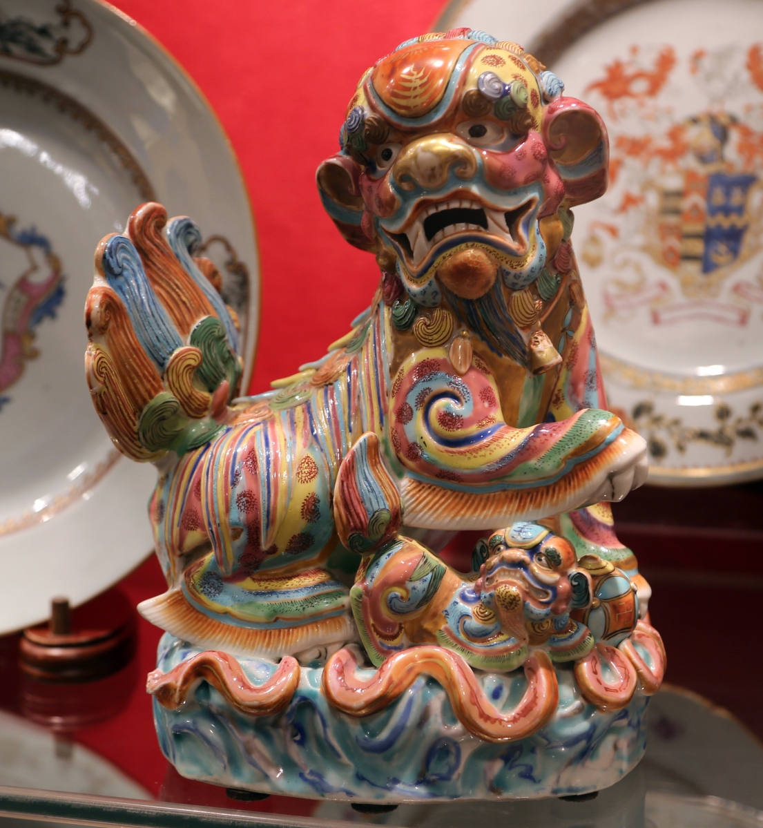 "Philip Dubey said one of his favorite pieces was this circa 1750 Chinese foo dog with ""outrageous"" enameling in excelling condition. He had handled it previously but was delighted to be able to sell it again."