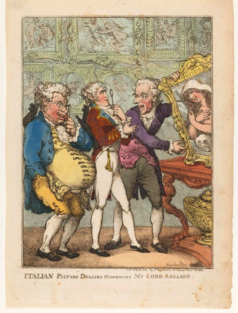 """Italian Picture Dealers Humbuging My Lord Anglaise"" by Thomas Rowlandson, 1812, hand-colored etching, published in London. Gift of Carl Zigrosser, 1974."
