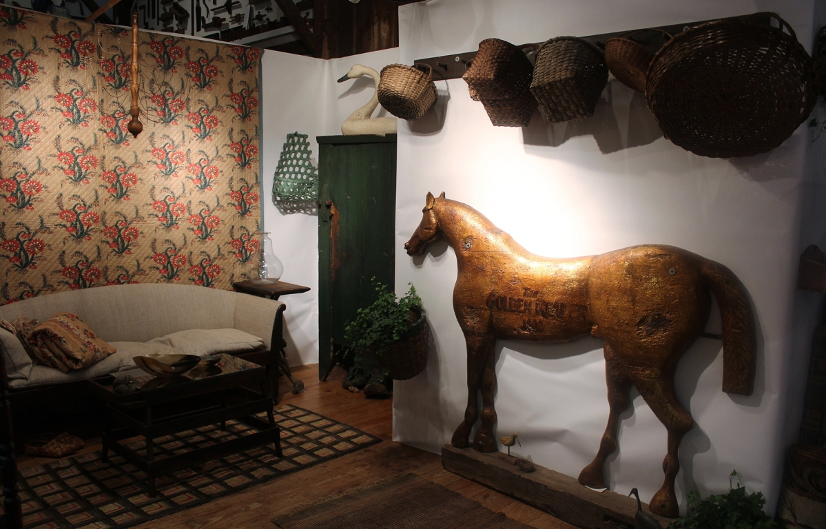 When Colette Donovan, a Merrimacport, Mass., dealer, walked into a small town antiques show 15 years ago, she jumped on acquiring the large, three-dimensional horse sign for The Golden Reaper Inn, dated 1802. She has only shown it once or twice and knew it would be a natural for this show.