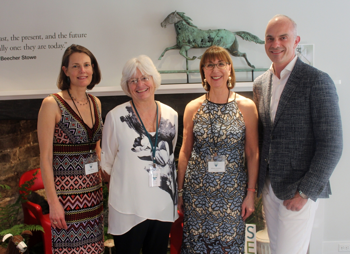 From left, Kim Mellin, the historical society's co-executive director; show manager Karen DiSaia; Allison Sanders, co-executive director; and Phillip Thomas, design chair.