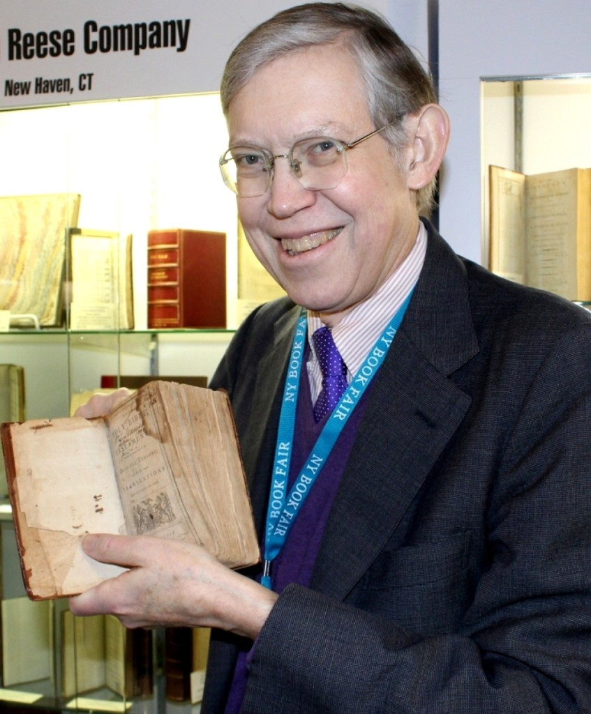 Bill Reese at the 58th New York Antiquarian Book Fair in March 2018. He holds the first American Bible, printed in Philadelphia in 1782. Photo W.A. Demers.