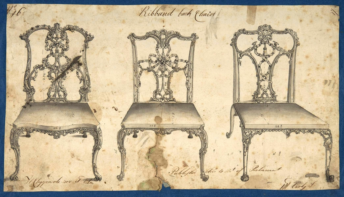 """This drawing, reversed, appeared in all the three editions of the Director. """"Ribband Back Chairs"""" by Thomas Chippendale (1718–1779), 1754. Pen and black ink, brush and gray wash. Metropolitan Museum of Art, Rogers Fund, 1972. From """"Chippendale's Director: The Designs and Legacy of a Furniture Maker,"""" Metropolitan Museum of Art."""