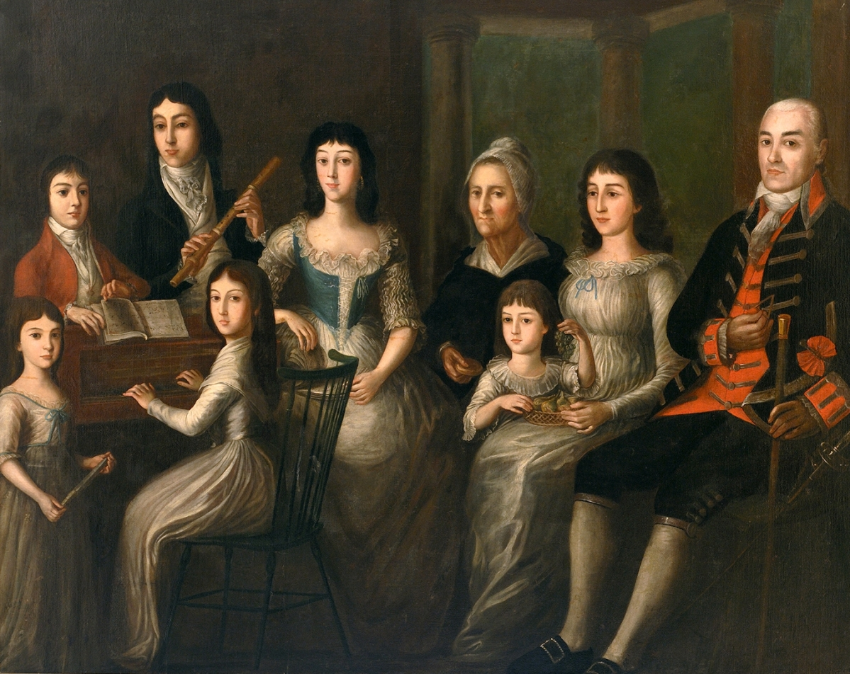 """""""The Family of Dr Joseph Montegut,"""" 1797–1800, oil on canvas, 59 by 74½ inches. Louisiana State Museum, loan of Mr Gustave Pitot. On view in """"Salazar,"""" Ogden Museum of Southern Art."""